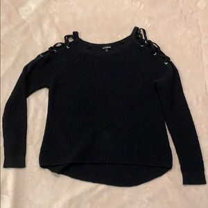 Black cold shoulder sweater